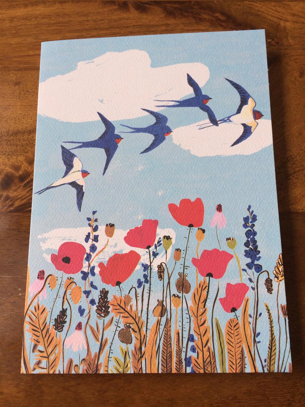 Birds in Sky Card