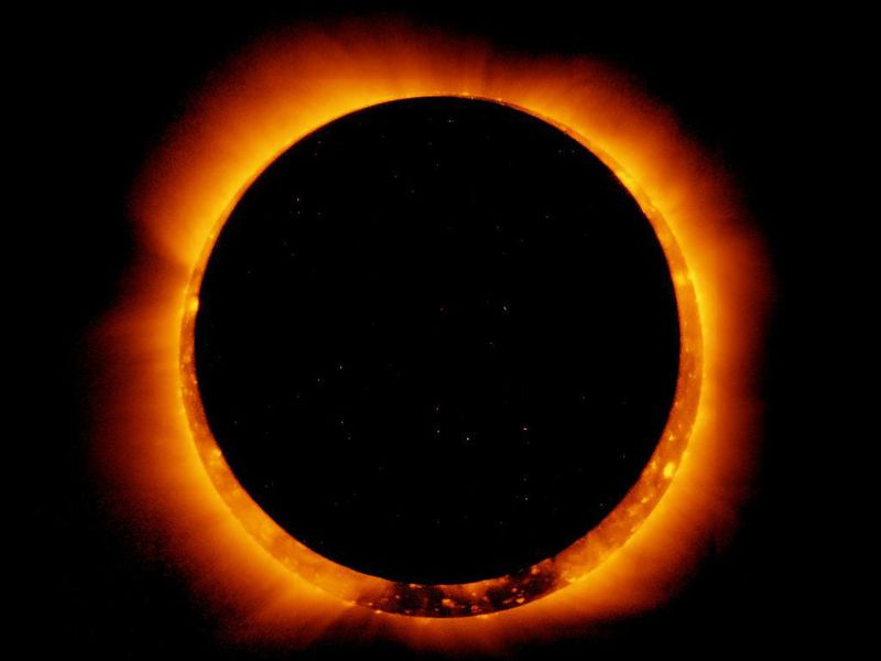 NASA's Earth-orbiting satellite Hinode observes the 2011 annual solar eclipse from space. (NASA Goddard)