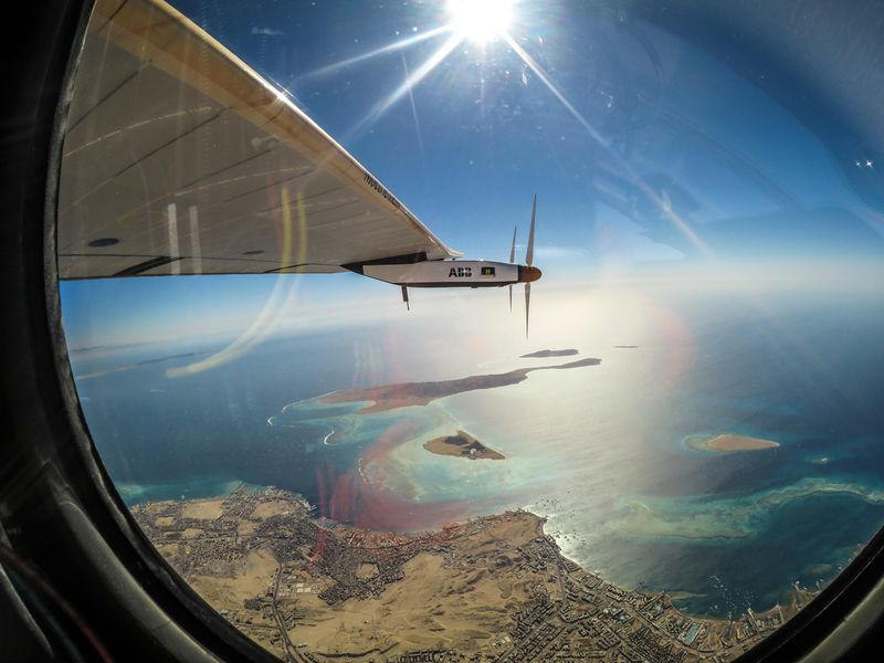 View from the cockpit of Solar Impulse 2 as the plane heads for landing in Abu Dhabi. (Solar Impulse)