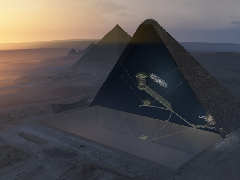 "3D illustration showing an aerial view of the Khufu pyramid with the new ""Big Void."" (ScanPyramids mission)"