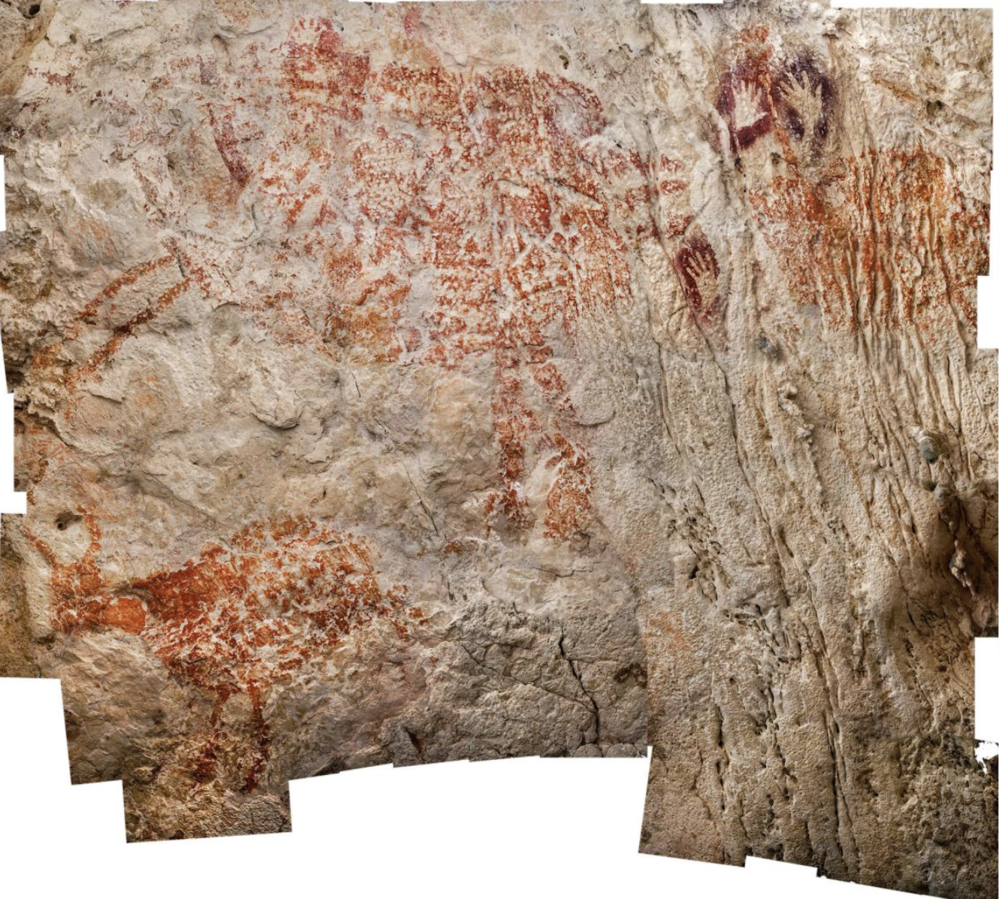 With a minimum age of 40,000 years, a trio of cow-like creatures, seen here in a composite image, is considered to be the oldest figurative artwork yet found.  PHOTOGRAPH BY LUC-HENRI FAGE