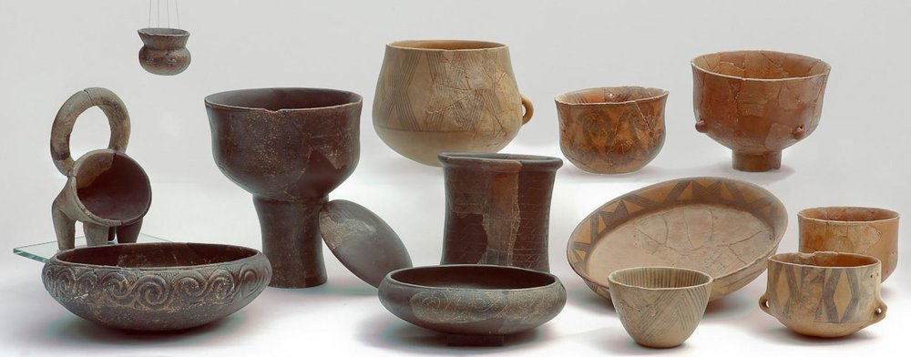 This array of Middle Neolithic pottery represents the types analyzed for a study of ancient cheese. PHOTOGRAPHY COURTESY OF SIBENIK CITY MUSEUM