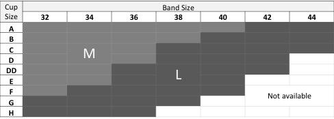 Pump bra size chart.