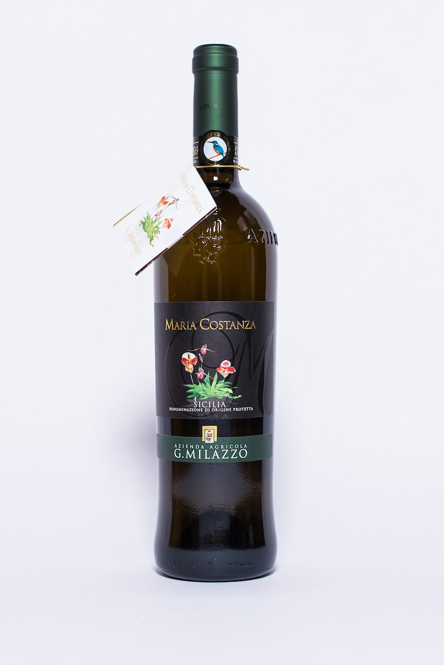 Maria Costanza Bianco 2016    Producer:   Azienda Agricola G. Milazzo    Region:  Sicily  Grapes:  Inzolia, Chardonnay  Nose:  Fresh floral aromas of orange blossom with notes of pineapple + banana, spicy accents white pepper  Taste:  Full, beautifully warm and mineral, well balanced with a very pleasant mouth feel