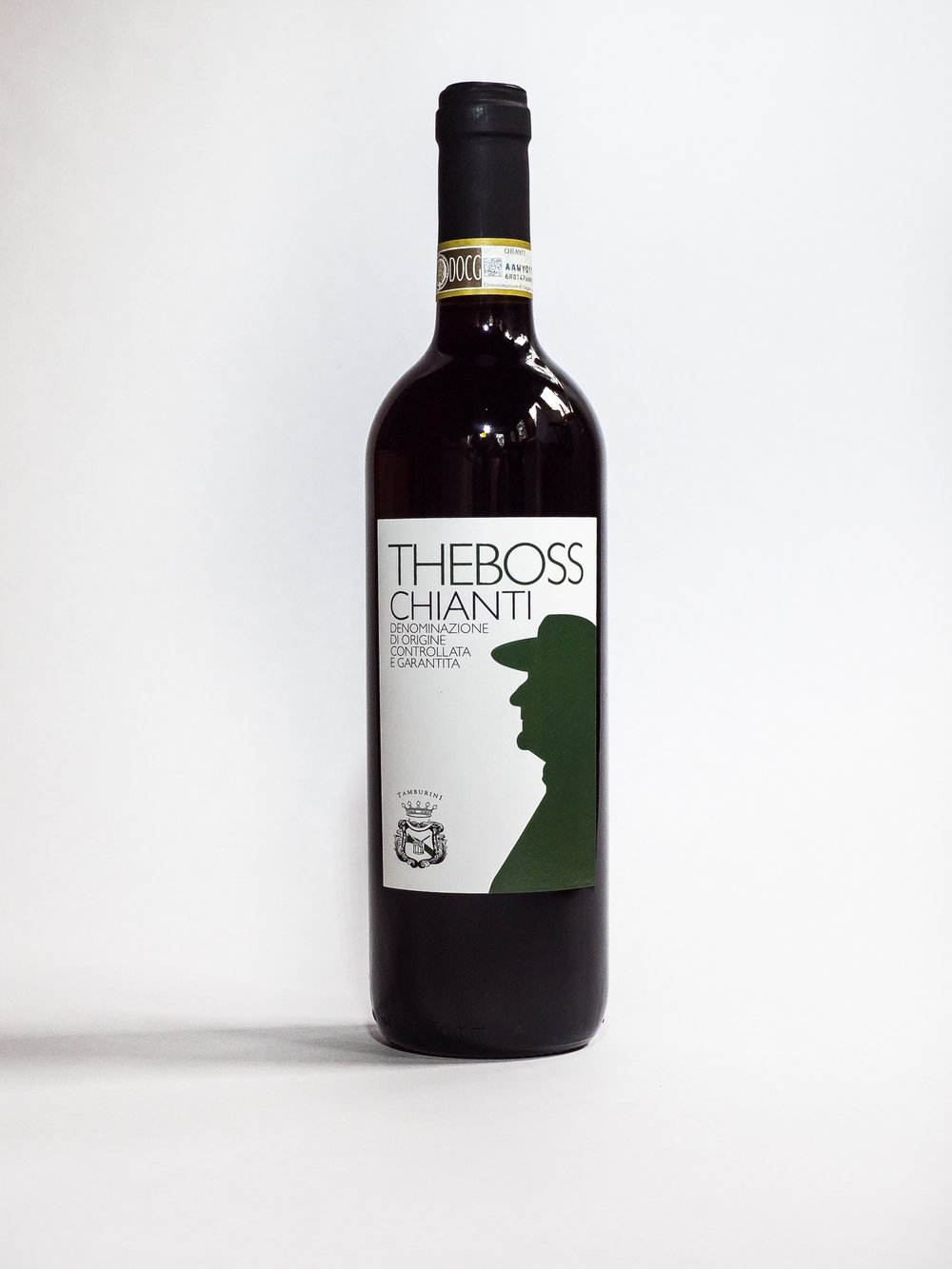 The Boss Chianti 2014    Producer:   Azienda Agricola Tamburini    Region:  Florence  Grapes:  Sangiovese 90%, Canaiolo 10%  Characteristics:  Mauro presents a ruby red color, clear and brilliant. Fruity and floral, the nose opens with an intense sequence of pomegranate, raspberry, cherry and violets. Fresh, with aromatic hints of eucalyptus and spicy nuances of nutmeg. Warm on the palate, a generous tannin texture typical of Sangiovese.