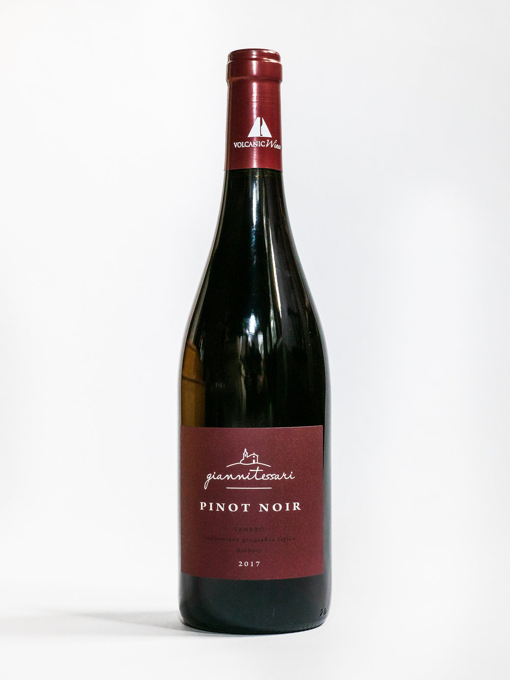 Pinot Noir 2017    Producer :  Giannitessari    Region:  Roncà, Veneto  Grapes:  Pinot Nero  Characteristics:  Cherry red color. Wild red fruit aromas. Medium structure, lightly tannicity and sapidity. Pairs well with white meat and grilled fish.