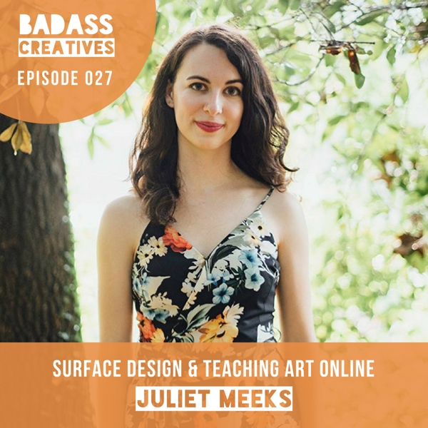 Juliet Meeks is a full time artist and surface designer whose work has been featured on products from Birchbox. We talk about how she prepared to quit her day job as a graphic designer, how she got started printing her designs on fabrics, and how she makes extra money by teaching online classes via Skillshare.