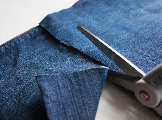 easy diy recycling tutorial how to make a skirt from old jeans badass creatives