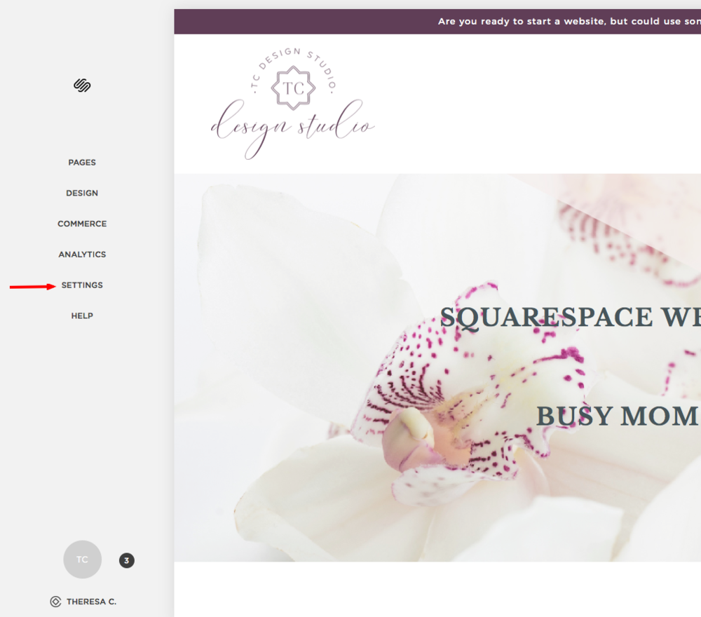 Settings in Squarespace | TC Design Studio