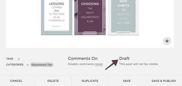 Squarespace Blog Statuses