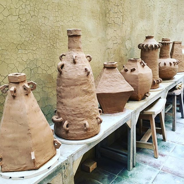 An impressive week of work by artist @karl_monies Now left to the hopefully expert hands of the studio tech to bring these big works through bisque and glaze firing! #ceramic #studio #member #independent #project #big #sculpture #clayeverydamnday #eatclaylove #bali #openstudiopass #comejoinus