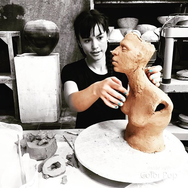 Giving Life. Reciprocal. #clayeverydamnday #eatclaylove #figurative #sculpture #muse #inspiration #flow #portrait of an #artist #atwork #ceramic #studio #bali