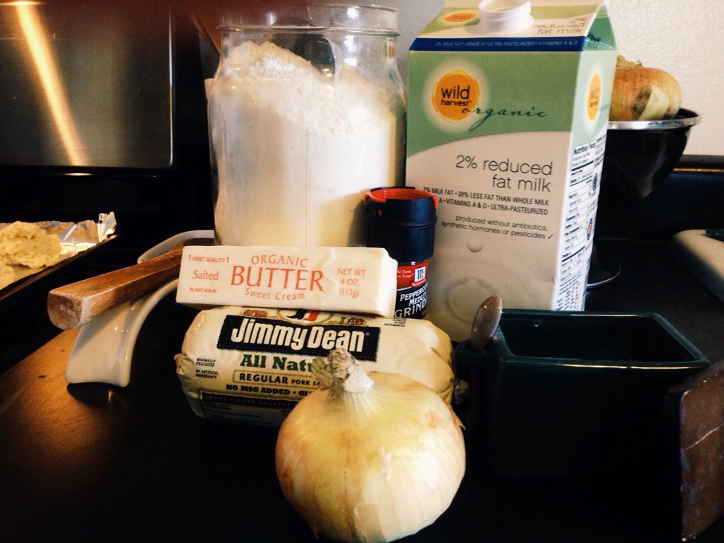 Ingredients for Biscuits and Gravy