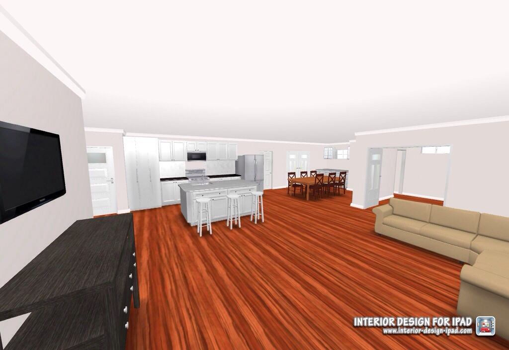 Digital Preview of the Newly Remodeled Living Room, Kitchen, Office and Dining Room
