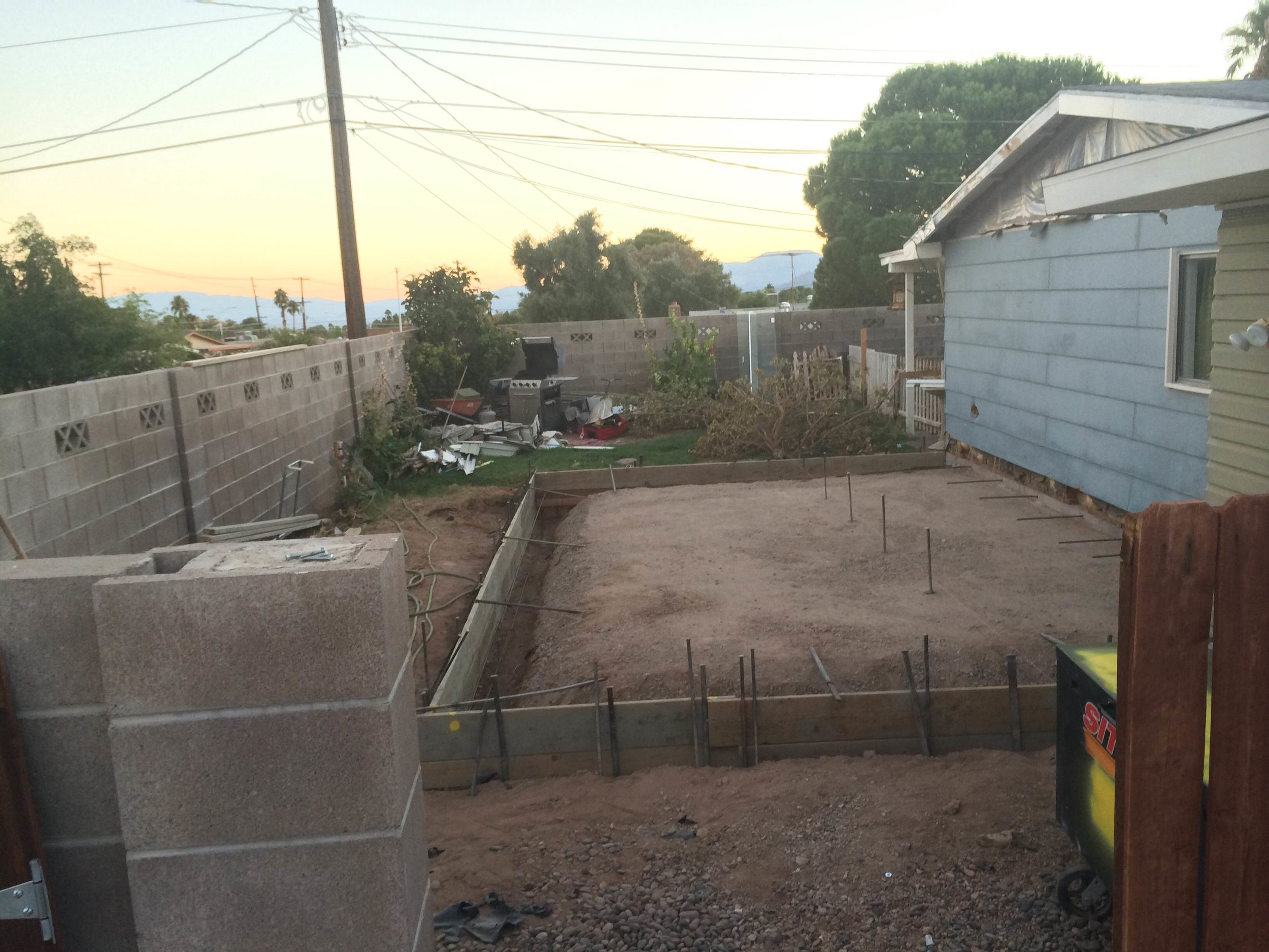 Side Yard Prepped for Concrete