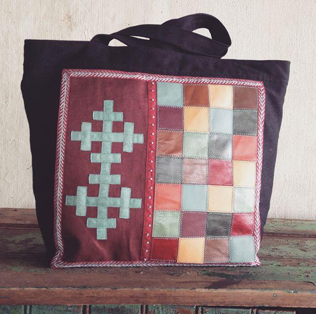 Shopper-sized handbag, Autumn Leaves #handembroidery #ethical fashion.  Vintage kid squares.  R1,300 inc Postnet to Postnet in SA.  Inbox details.