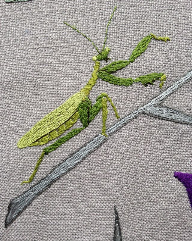 #insects #handembroidery #barok.  A peep at a small detail in a jungle.