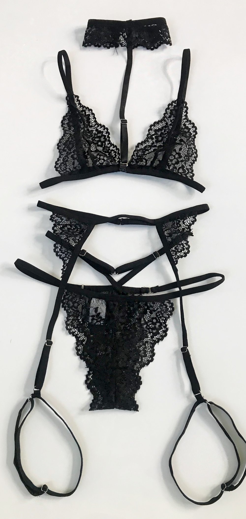 4 piece lingerie set - BLACKS, LPanty Style: ThongBra Type: Wireless$23