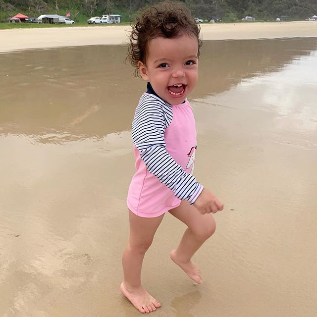 Camping just gets better and better for this crazy toddler!! She's at such a great age where she just loves it!! This weekend we camped at Teewah Beach, above Noosa North Shore. Evie had a ball riding the waves with Dad and running a muck around campsite. I don't think Harper even realised we left the house, sleeping the whole way through the weekend. Now we are on our way home, surprisingly in no traffic!