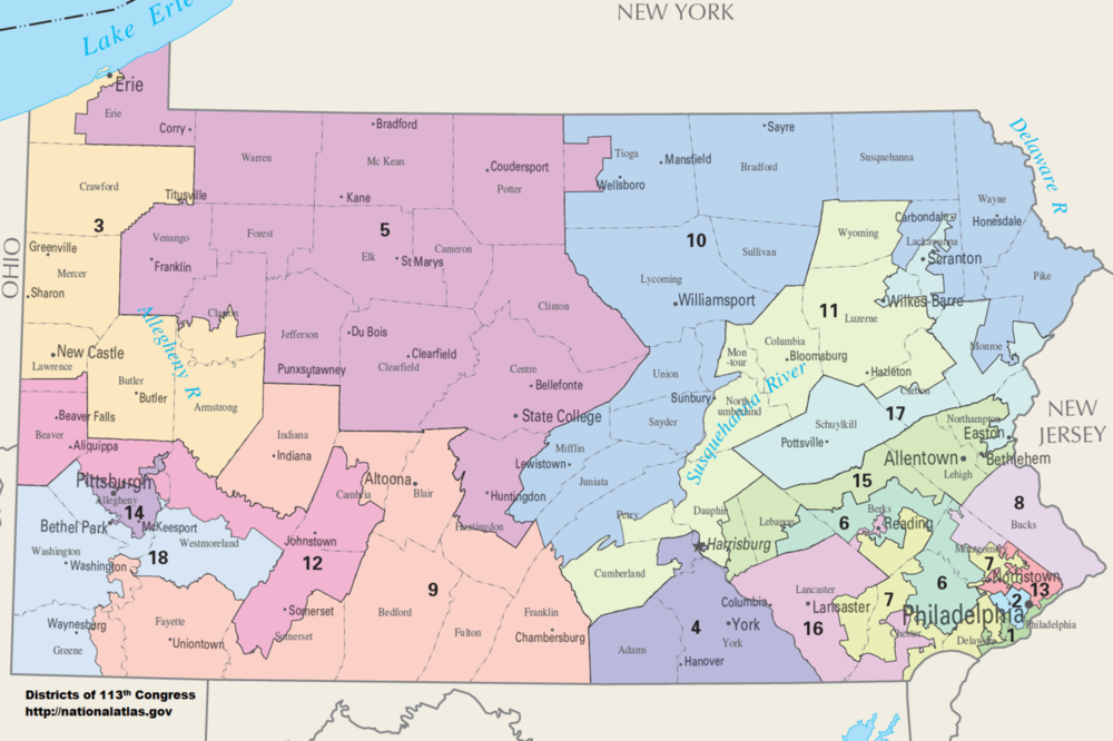 Map of current PA gerrymander