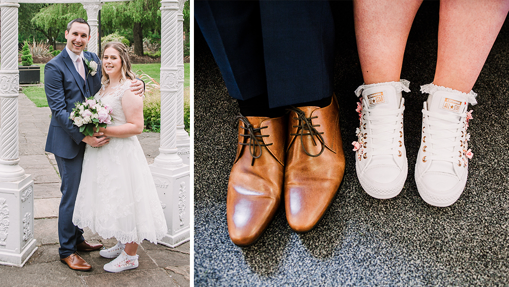 "Katie - ""Absolutely beautiful shoes, so many people complimented them throughout the day. The service provided by Bex and the quality of her work was second to none. When I first contacted Bex I was pretty clueless about what I wanted but after a short conversation she was able to design the perfect pair of shoes for me! I'd highly recommend Morgan and Thread!"""