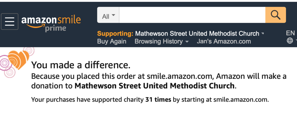 Thanks for choosing to make a difference!   Your purchases here at smile.amazon.com will support  Mathewson Street United Methodist Church. Log on to  smile.Amazon.com. Thank you!