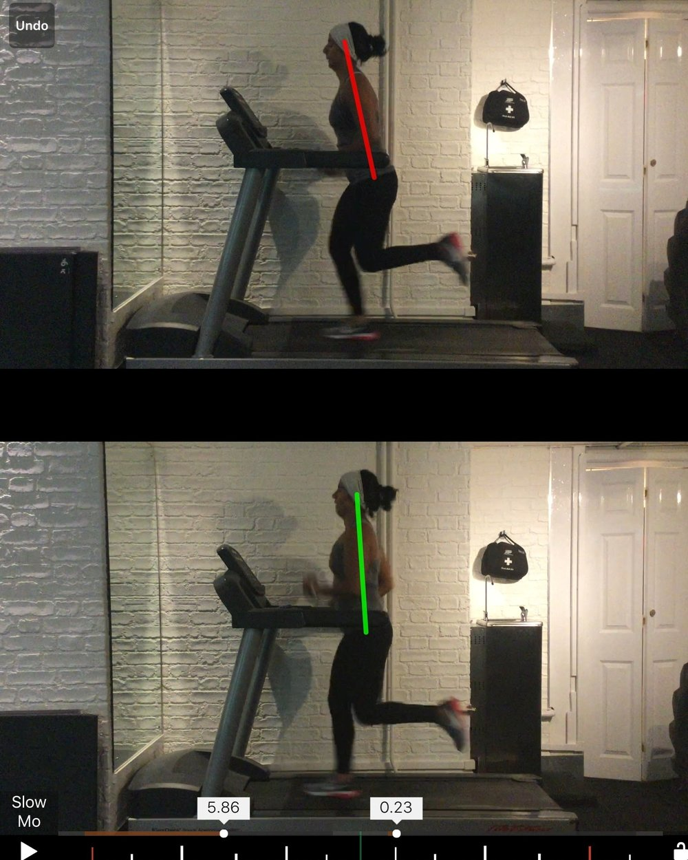 Example of improved posture and increased glute activation