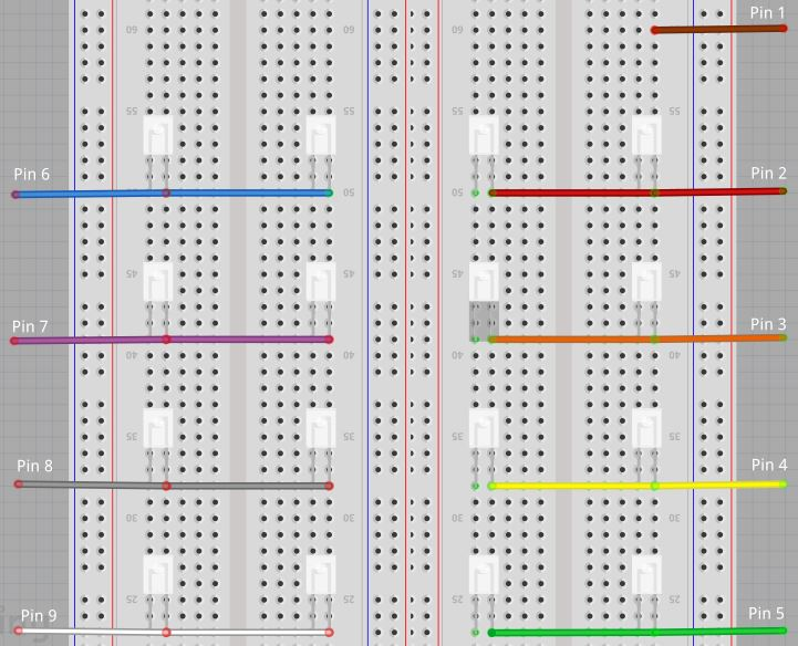 Breadboard wiring of microcontroller pins
