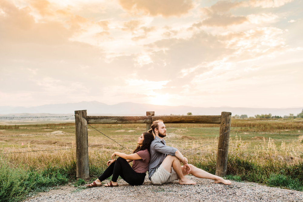 Sunset engagement session in the northern Colorado foothills | Longmont wedding photographers