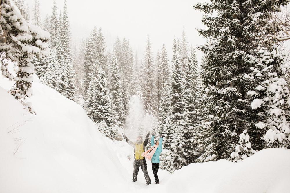 Snowy Colorado Rocky Mountain engagement session | Estes Park wedding photographers