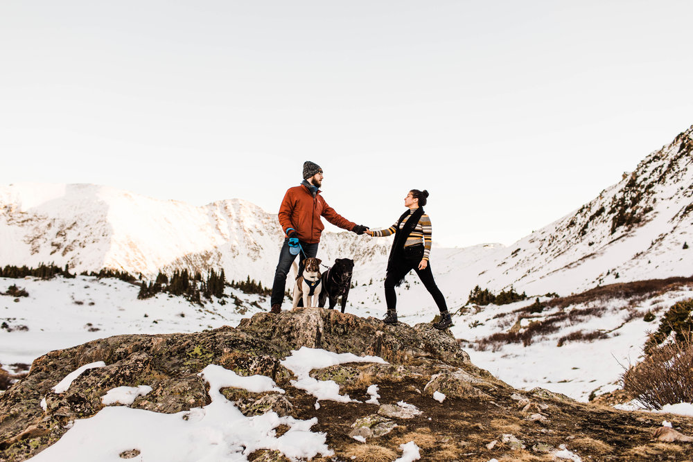 Adventure engagement session in the snowy Rocky Mountains | Best Asheville elopement photographers