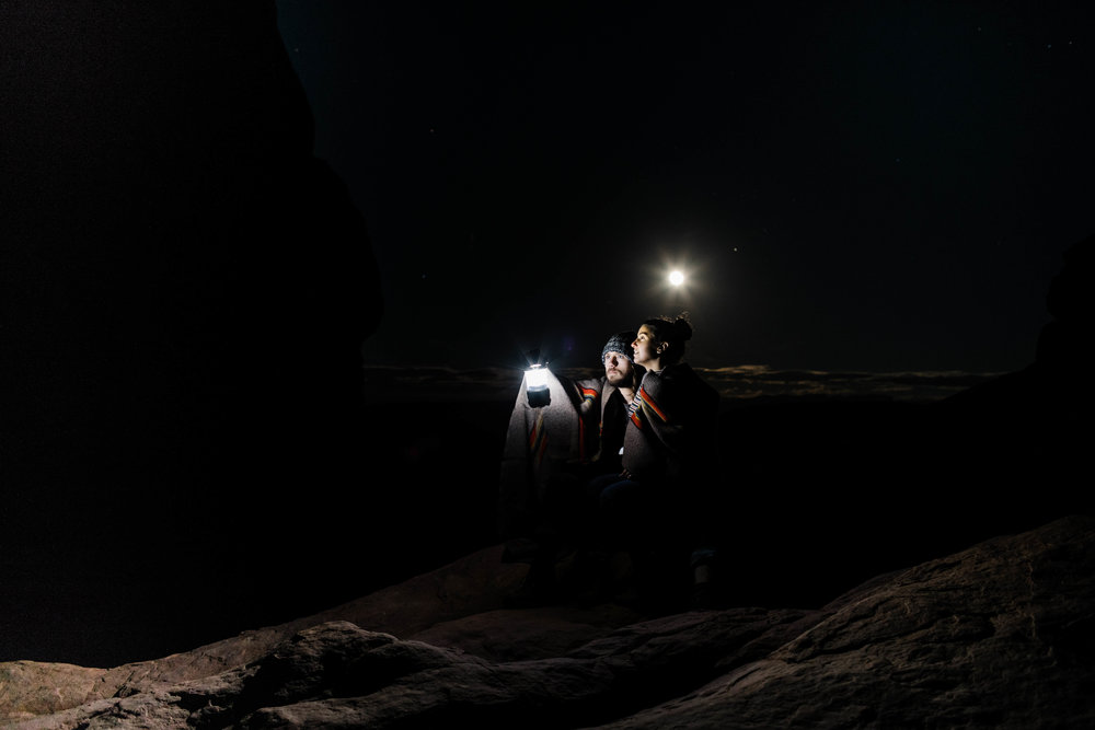 Full moon engagement photos in Utah | Asheville NC wedding photographers