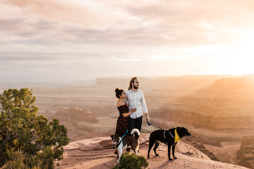 Sunset adventure engagement session by a desert canyon | Best Colorado Adventure Wedding Photographers