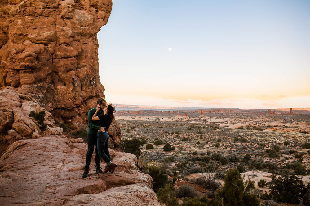 Sunrise adventure session engagement in Moab Utah | Charlotte North Carolina wedding photographers