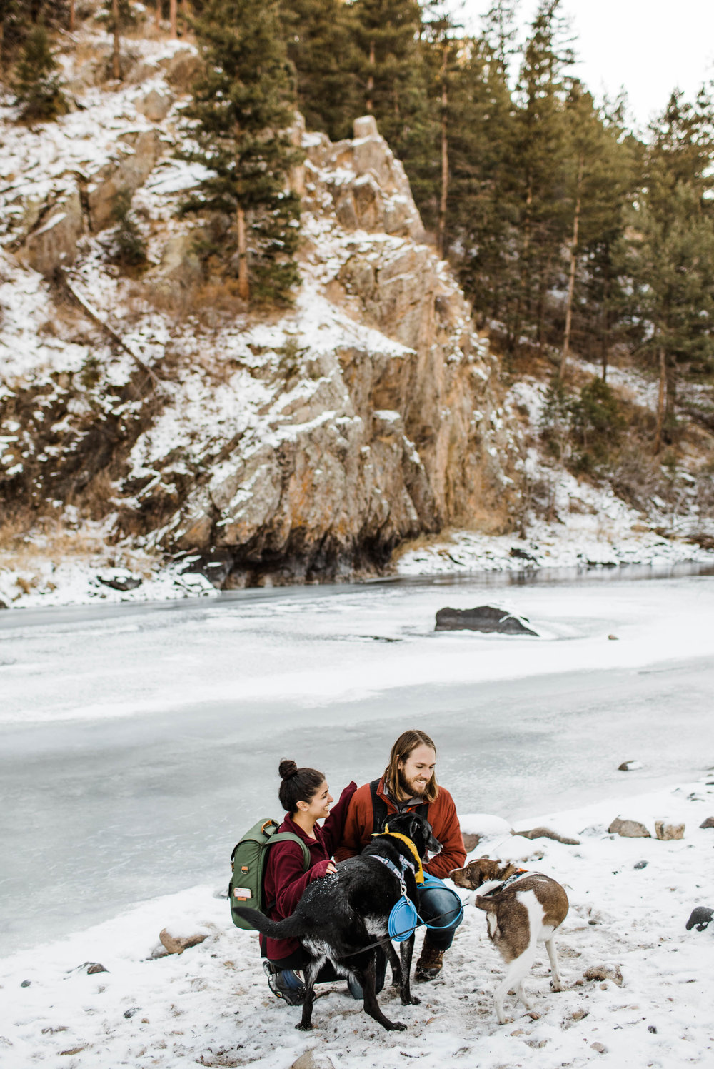 Mountain engagement by a frozen lake | Colorado elopement photographers