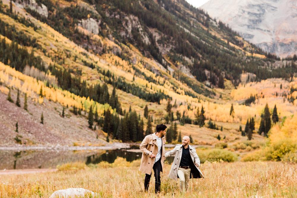 Maroon Bells Aspen, Colorado Fall Adventure Mountain Proposal Maroon Bells wedding photographers