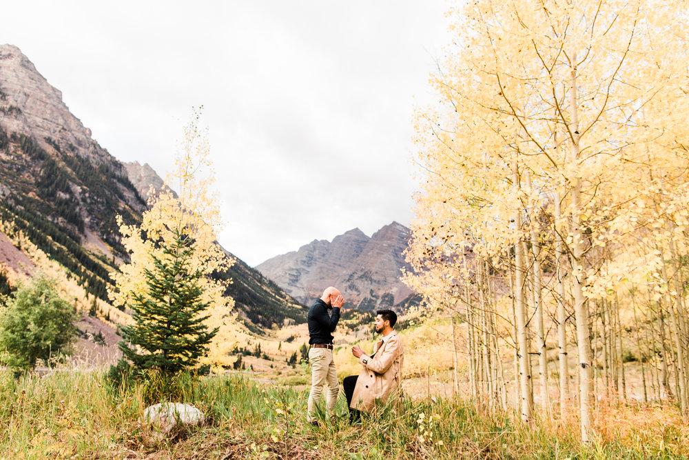 Maroon Bells Aspen, Colorado Rocky Mountain Fall Adventure Mountain Surprise Proposal Session | Maroon Bells engagement photographers