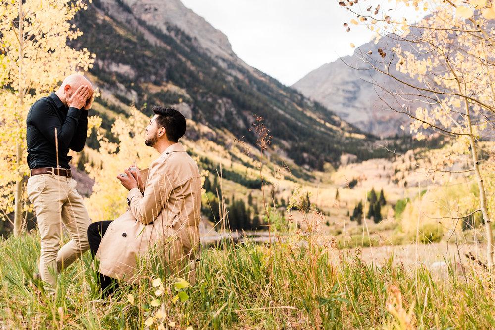 Aspen, Colorado Rocky Mountain Fall Adventure Session | Maroon Bells Proposal Photographers