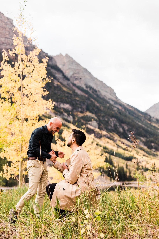Epic surprise proposal at Maroon Bells | best Aspen Colorado elopement photographers