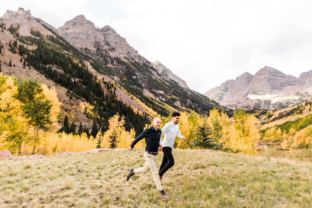 couples adventure session in Aspen Colorado | best Maroon Bells wedding photographers