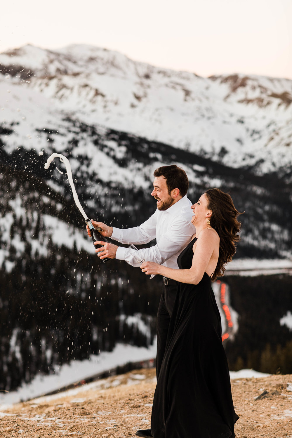 Champagne engagement session | Rocky Mountains Colorado Elopement Photographer