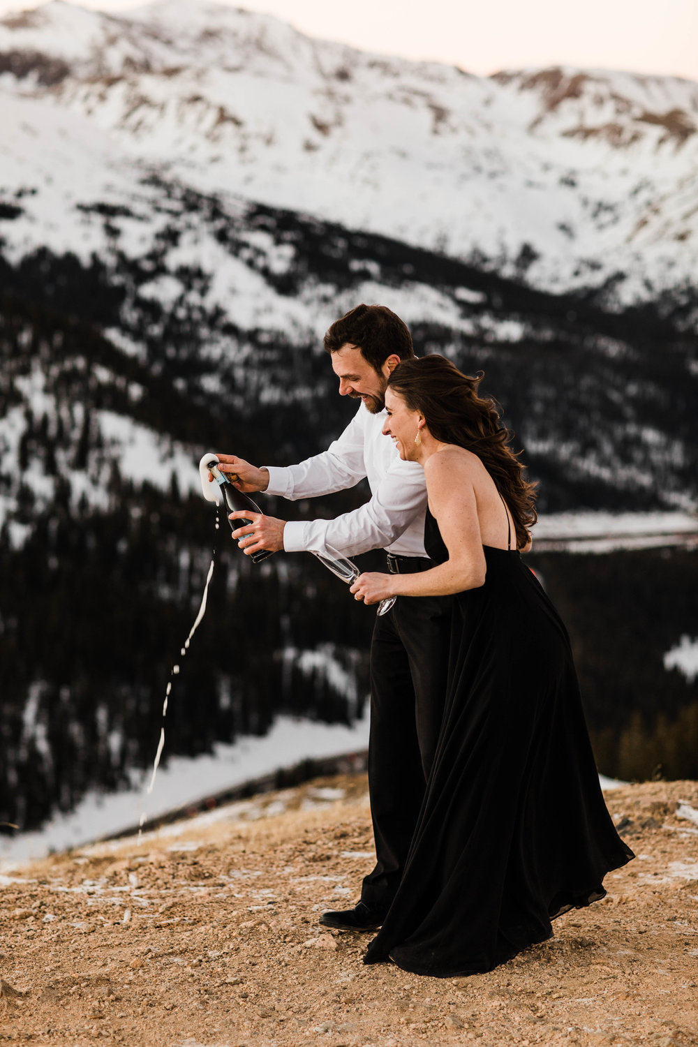 Champagne engagement session | Rocky Mountains Colorado Elopement Photography