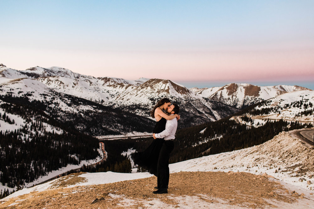 Rainbow mountain sunset engagement photos | Winter Colorado Elopement Photography