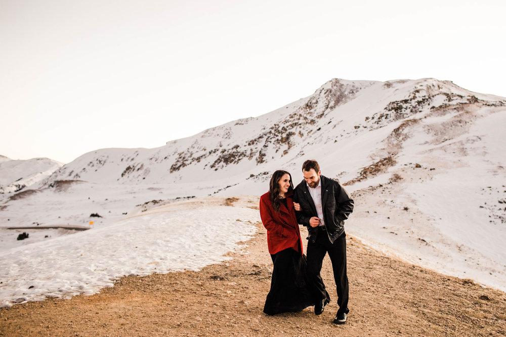 Running in the Rocky Mountain snow | Top Colorado adventure wedding photography