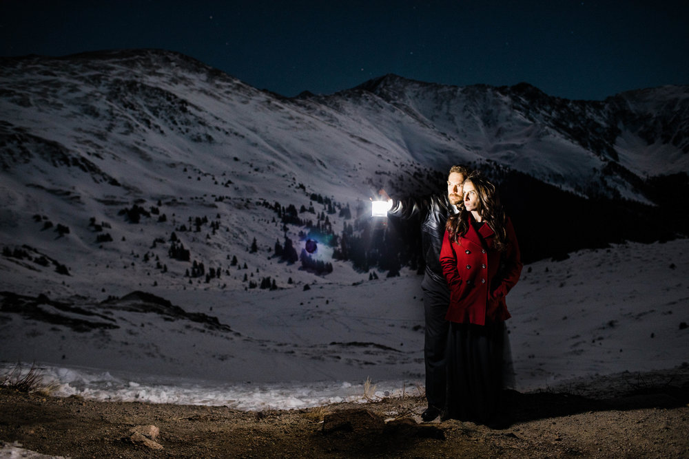 Starry night engagement photos in the mountains | Colorado Elopement Photographer