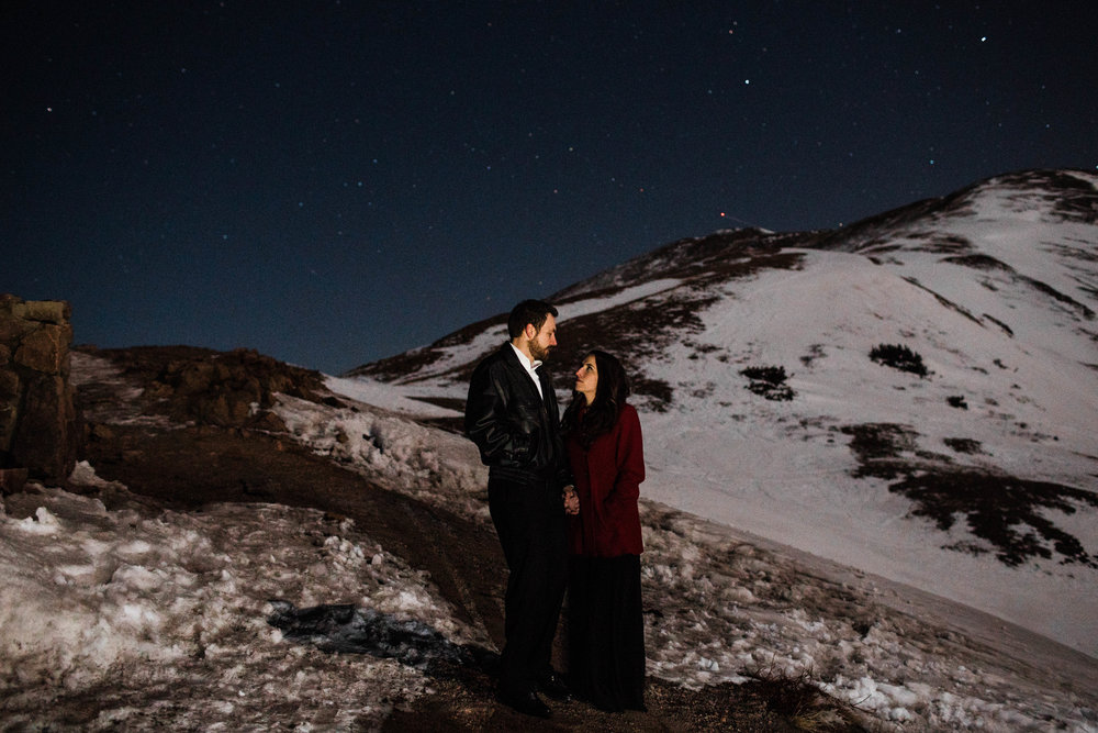 Mountain engagement photos under the stars | Colorado Elopement Photographer
