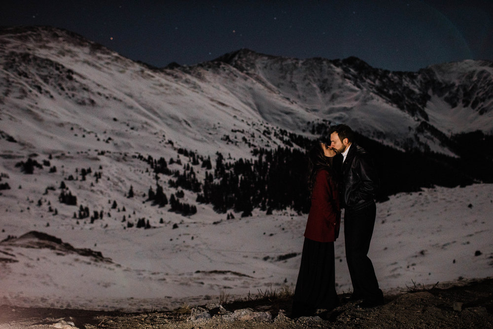 Winter night adventure session on a starry night | Colorado Elopement Photographer