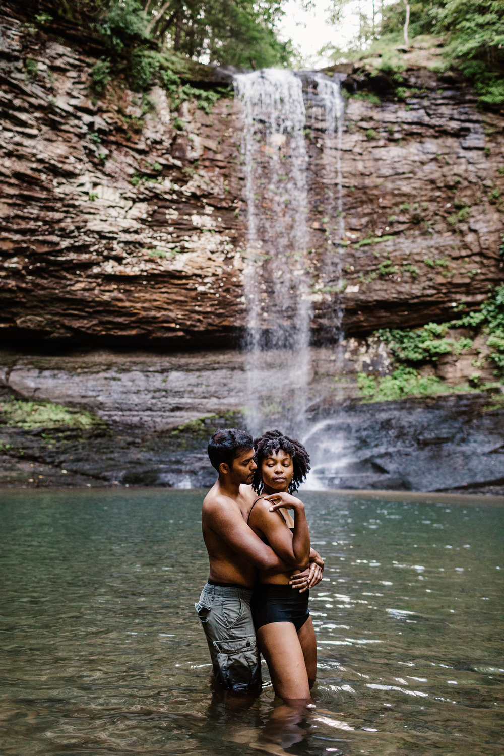 Swimming Waterfall Adventure Session in Blue Ridge Mountains | Asheville Elopement Photographer 2