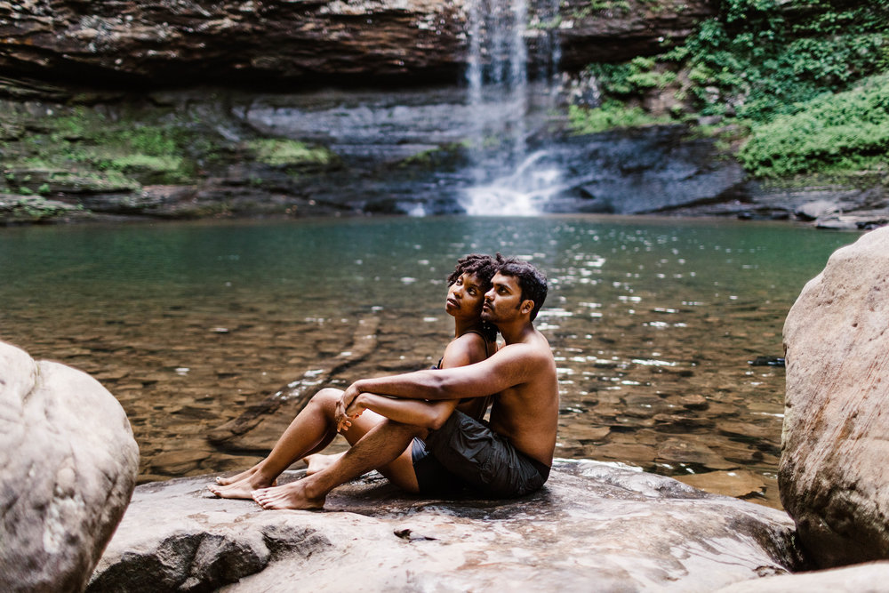 Sitting by Mountain Waterfall Adventure Session | Asheville North Carolina Elopement Photographer