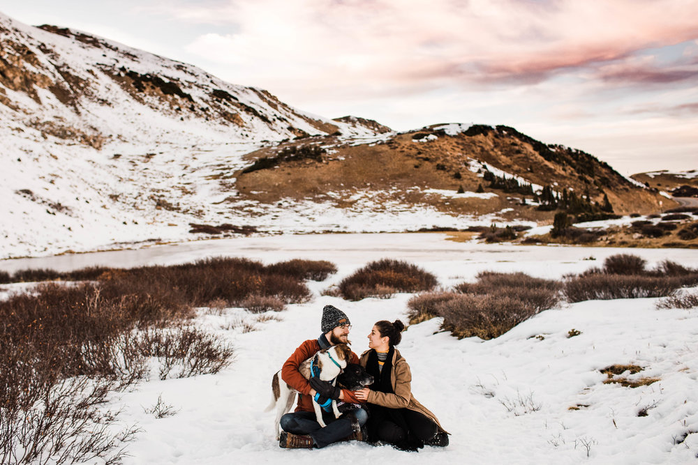 Loveland Pass engagement session with dogs | Best Colorado elopement photographers